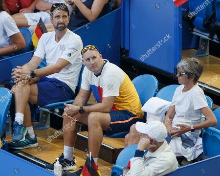 Physio Hugo Gravil, Fitness Trainer Jez Green, Eltern von Alexander Zverev, Mother Irina and Father Alexander