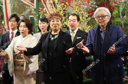 Stock Photo of (R-L) Japanese film director Yoji Yamada, actresses Yaeko Mizutani and Kuriko Namino