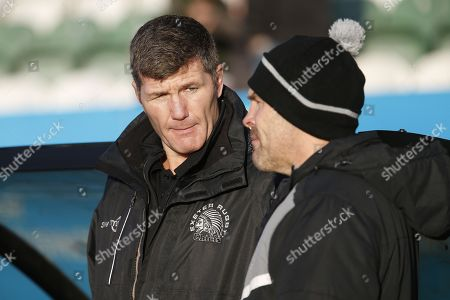 Rob Baxter of Exeter Chiefs chats with John Wells of Newcastle Falcons before their sides game against each other. Newcastle Falcons v Exeter Chiefs in The Aviva Premiership on Sunday, 7th January 2018 at Kingston Park, Newcastle upon Tyne.