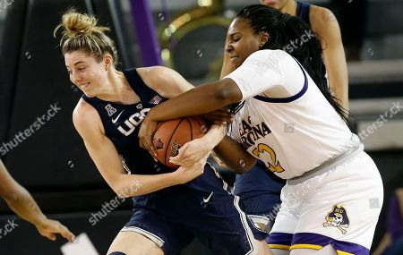 Katie Lou Samuelson, Tamia Hicks. Connecticut's Katie Lou Samuelson, left, and East Carolina's Tamia Hicks struggle for possession of the ball during the first half of an NCAA college basketball game in Greenville, N.C
