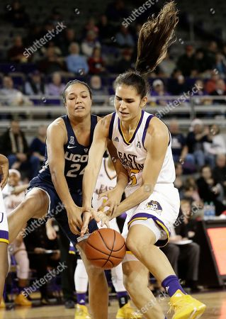 Thais Oliveira, Napheesa Collier. Connecticut's Napheesa Collier (24) and East Carolina's Thais Oliveira reach for the ball during the first half of an NCAA college basketball game in Greenville, N.C