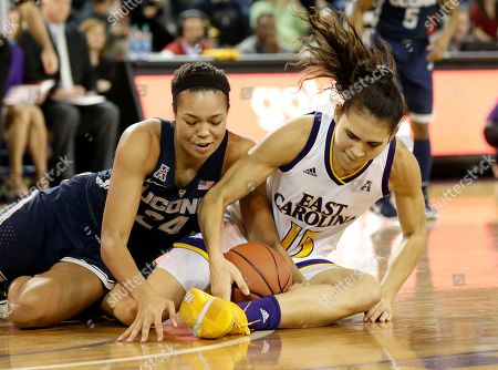 Thais Oliveira, Napheesa Collier. Connecticut's Napheesa Collier and East Carolina's Thais Oliveira fall to the floor during the first half of an NCAA college basketball game in Greenville, N.C