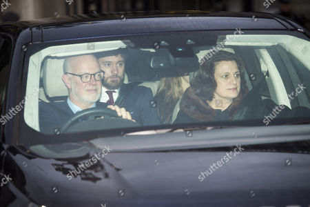 George Windsor, Earl of St Andrews, wife Sylvana Tomaselli and guests leaving Buckingham Palace after the Annual royal Christmas Lunch