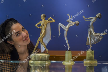 Stock Photo of Three Art Deco silvered bronzes by sculptor and ceramicist Josef Lorenzl (1892-1950), formerly owned by novelist, Jackie Collins, on Hickmet Fine Arts' stand