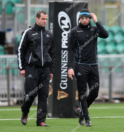 Finn Russell - Glasgow Warriors fly half (R) and Chris Paterson - Kicking coach.