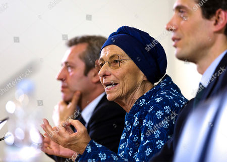 "Emma Bonino, Riccardo Maggi, Benedetto Della Vedova. Longtime radical leader Emma Bonino, center, speaks during a press conference held with Riccardo Maggi, right, and Benedetto della Vedova, left, at the Foreign Press Club in Rome, . Bonino announced ""+Europa"", an alliance of her own, after denouncing as undemocratic the new electoral law's requirement that new or small parties outside parliament get thousands of signatures before being allowed to field candidates. Italy will vote a new parliament on March 4"