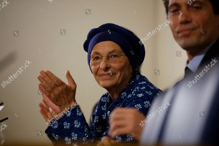 Stock Photo of Emma Bonino, left, is flanked by Riccardo Magi as she speaks at the Foreign Press Club in Rome, . Italy's political parties are scrambling to solidify coalitions and find viable candidates at the two-month mark before March 4 parliamentary elections, working under a complicated new electoral law designed to improve governing stability. On Thursday, longtime radical leader Emma Bonino announced an alliance of her own after denouncing as undemocratic the new law's requirement that new or small parties outside parliament get thousands of signatures before being allowed to field candidates