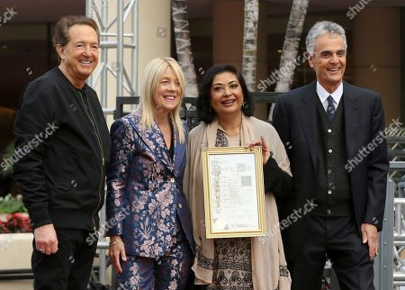Meher Tatna, Allen Shapiro, Barry Adelman, Lili Bosse. Barry Adelman, from left, Mayor of Beverly Hills Lili Bosse, Meher Tatna and Allen Shapiro attend the 75th Annual Golden Globe Awards Preview Day at The Beverly Hilton, in Beverly Hills, Calif