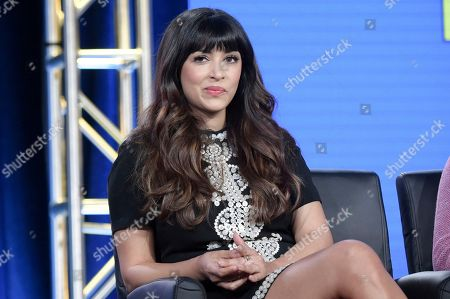 """Hannah Simone participates in """"New Girl"""" panel during the FOX Television Critics Association Winter Press Tour, in Pasadena, Calif"""