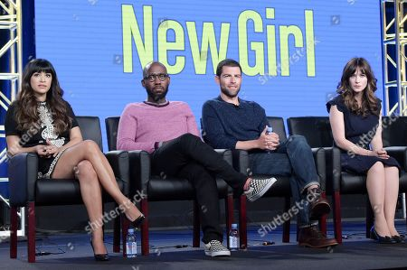 """Hannah Simone, Lamorne Morris, Max Greenfield, Zooey Deschanel. Hannah Simone, from left, Lamorne Morris, Max Greenfield and Zooey Deschanel participates in """"New Girl"""" panel during the FOX Television Critics Association Winter Press Tour, in Pasadena, Calif"""