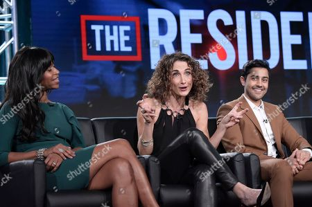 """Merrin Dungey, Melina Kanakaredes, Manish Dayal. Merrin Dungey, from left, Melina Kanakaredes and Manish Dayal participate in the """"The Resident"""" panel during the FOX Television Critics Association Winter Press Tour, in Pasadena, Calif"""