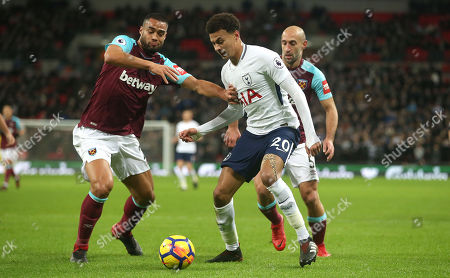 Dele Alli of Tottenham Hotspur battles for the ball with Winston Reid and Pablo Zabaleta of West Ham United during the Premier League match between Tottenham Hotspurs and West Ham United on 4th January 2018 at Wembley Stadium, London.