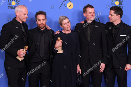 Martin McDonagh, Sam Rockwell, Frances McDormand, Pete Czernin and Graham Broadbent - Best Motion Picture, Drama - 'Three Billboards Outside Ebbing, Missouri'