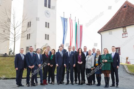 (L-R) Finance State Secretary Hubert Fuchs of the FPOe; Infrastructure and Transport Minister Norbert Hofer of the FPOe; Styrian governor Hermann Schuetzenhoefer; Interior Minister Herbert Kickl of the FPOe; Minister for Women and Family Affiairs, Juliane Bogner-Strauss of the OeVP; Finance Minister Hartwig Loeger of the OeVP; Interior State Secretary Karoline Edtstadler of the OeVP; Austrian Chancellor Sebastian Kurz, the leader of the Austrian Peoples Party (OeVP); Minister for Education, Universities and Kindergartens, Heinz Fassmann of the OeVP; Vice-Chancellor and Sports Minister Heinz-Christian Strache, the leader of the right-wing Austrian Freedom Party (FPOe); Justice and State Reform Minister Josef Moser of the OeVP; Agriculture and Environment Minister Elisabeth Koestinger of the OeVP; Defense Minister Mario Kunasek of the FPOe; Social and Health Minister Beate Hartinger of the FPOe; OeVP party whip August Woeginge; Economy Minster Margarete Schramboeck of the OeVP; independent Foreign Minister Karin Kneissl; and Chancellery Minister and Minister for European Union Affairs, Media, Art and Culture, Gernot Bluemel of the OeVP pose for a group picture during the government meeting at the Schloss Seggau in Leibnitz,  Styria, Austria, 05 January 2018. It is the new goverment's first work meeting to discuss the key aspects the new coalition government between Austrian Peoples Party (OeVP) and the right-wing Austrian Freedom Party (FPOe).