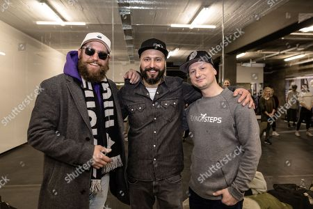 Mc Fitti, German Rapper, Vortan Bassil, founder and creative director of the Flying Steps Academy, and Micheal 'Mikel' Rosemann, Academy Manager and founding member, pose for a portrait in Berlin, Germany, 05 January 2018 'The Flying Steps Academy' is one of the biggest dancing schools in Germany and is celebrating its 25th anniversary this year.