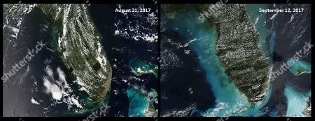 These satellite images made available by NOAA, shows the State of Florida on August 2017, left, and September 2017, after Hurricane Irma impacted the state. The September image shows how the storm pushed massive amounts of sand, uncovering ancient reefs and burying some closer to its path