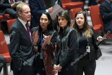 Matthew Rycroft, Nikki Haley. British Ambassador to the United Nations Matthew Rycroft, left, speaks to American Ambassador to the United Nations Nikki Haley before the start of a Security Council meeting on the situation in Iran, at United Nations headquarters