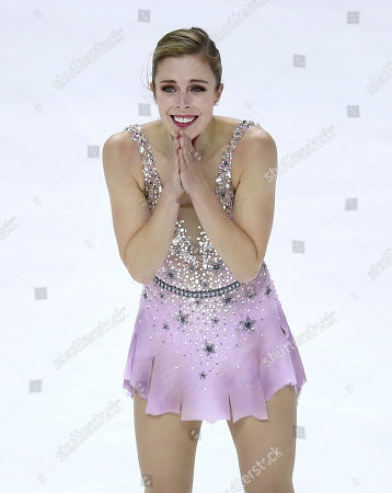 Ashley Wagner smiles after performing during the women's free skate event at the U.S. Figure Skating Championships in San Jose, Calif
