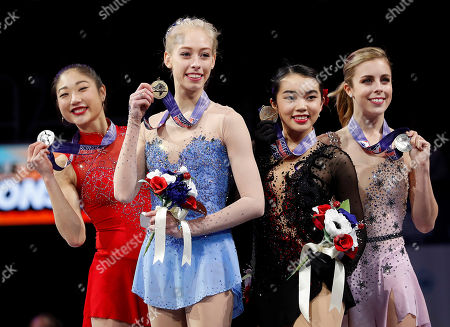 Bradie Tennell, Mirai Nagasu, Karen Chen, Ashley Wagner. Bradie Tennell, foreground, poses after winning the women's free skate event with second place finisher Mirai Nagasu, left, third place finisher Karen Chen, second from right, and fourth place finisher Ashley Wagner at the U.S. Figure Skating Championships in San Jose, Calif