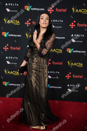 Simone Kessell poses for photographers upon arrival at the 7th annual AACTA International Awards at the Avalon, in Los Angeles