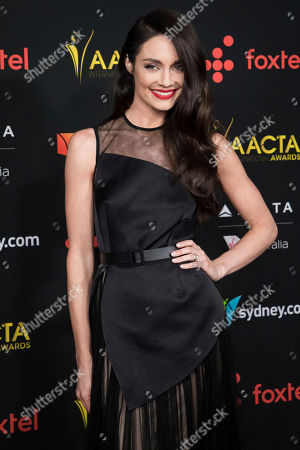 Mallory Jansen poses for photographers upon arrival at the 7th annual AACTA International Awards at the Avalon, in Los Angeles