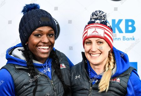 Second placed Jamie Poser Greubel (R) and Aja Evans of the USA celebrate after the second run of the Women's race at the Bobsleigh World Cup in Altenberg, Germany, 06 January 2018.
