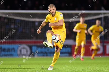 Preston North End midfielder John Welsh (19) clears his lines during the The FA Cup 3rd round match between Wycombe Wanderers and Preston North End at Adams Park, High Wycombe