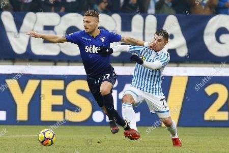 Stock Picture of Spal's Federico Viviani (R) and Lazio's Ciro Immobile (L) in action during the Italian Serie A soccer match Spal 2013 vs S.S Lazio at Paolo Mazza Stadium in Ferrara, Italy, 06 January 2018.