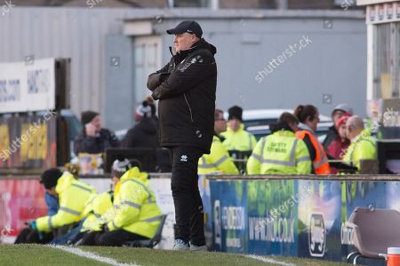 Grimsby Town Manager Russell Slade during the EFL Sky Bet League 2 match between Grimsby Town FC and Morecambe at Blundell Park, Grimsby