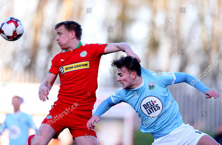 Cliftonville vs Warrenpoint Town. Cliftonville's Liam Bagnall in action with Warrenpiont Town's Liam McKenna