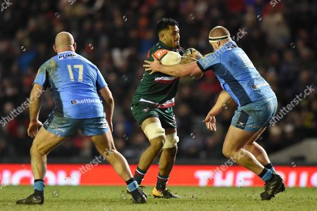 Stock Photo of Valentino Mapapalangi of Leicester Tigers takes on the London Irish defence