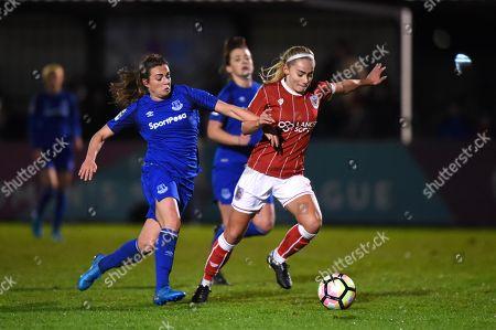 Julie Biesmans of Bristol City Women under pressure from Jodie Brett of Everton Ladies