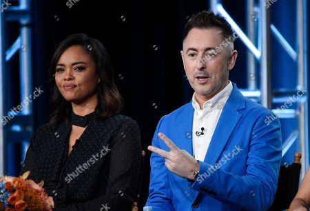 """Stock Picture of Alan Cumming, Sharon Leal. Alan Cumming, right, executive producer and star of the new CBS series """"Instinct,"""" takes part in a panel discussion on the show with fellow cast member Sharon Leal at the Television Critics Association Winter Press Tour, in Pasadena, Calif"""
