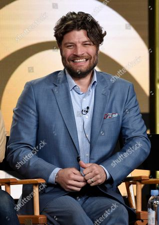 "Jay R. Ferguson, a cast member in the new CBS series ""Living Biblically,"" takes part in a panel discussion on the show at the Television Critics Association Winter Press Tour, in Pasadena, Calif"