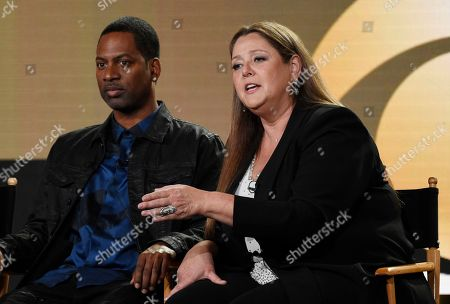 "Camryn Manheim, Tony Rock. Camryn Manheim, right, and Tony Rock, cast members in the new CBS series ""Living Biblically,"" take part in a panel discussion on the show at the Television Critics Association Winter Press Tour, in Pasadena, Calif"
