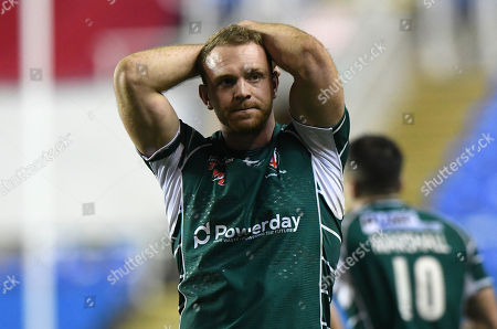 Dejection for Greig Tonks of London Irish at the end of the match after losing during the Aviva Premiership Rugby match between London Irish v Newcastle Falcons on December 30th 2017 at Madejski Stadium, Reading, Berkshire England. (Photo by Gareth Davies/PPAUK)