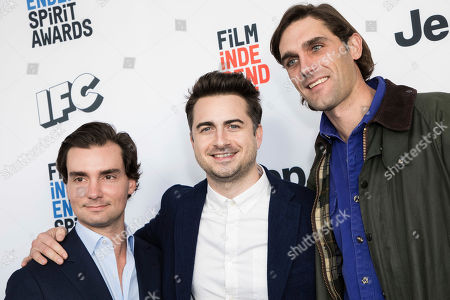 Tim White, Matt Spicer, David Branson Smith. Tim White, Matt Spicer and David Branson Smith pose for photographers upon arrival at the 33rd Annual Film Independent Spirit Award Nominee Brunch at BOA Steakhouse, in Los Angeles