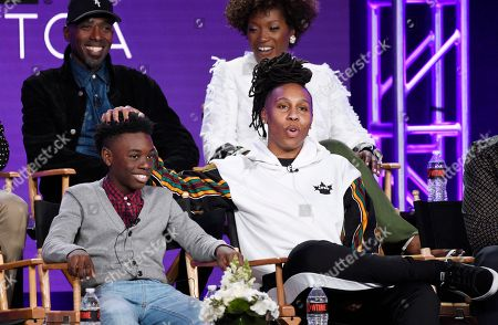 """Ntare Guma Mbaho Mwine, Alex Hibbert, Lena Waithe, Yolonda Ross. Lena Waithe, front right, creator/executive producer/writer of the Showtime series """"The Chi,"""" answers a question as cast members Alex Hibbert, front left, Ntare Guma Mbaho Mwine, back left, and Yolonda Ross look on during a panel discussion at the Television Critics Association Winter Press Tour, in Pasadena, Calif"""