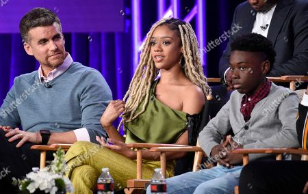 """Armando Riesco, Tiffany Boone, Alex Hibbert. Armando Riesco, left, Tiffany Boone, center, and Alex Hibbert, cast members in the Showtime series """"The Chi,"""" take part in a panel discussion on the show at the Television Critics Association Winter Press Tour, in Pasadena, Calif"""