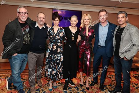 "Brian Koppelman, creator/executive producer, Paul Giamatti, Maggie Siff, Asia Kate Dillon, Malin Akerman, Damian Lewis and David Levien, creator/executive producer, at the ""Billions"" Panel at Showtime TCA Winter Press Tour 2018"