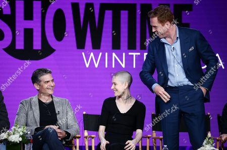 "David Levien, creator/executive producer, Asia Kate Dillon and Damian Lewis speak at the ""Billions"" Panel at Showtime TCA Winter Press Tour 2018"