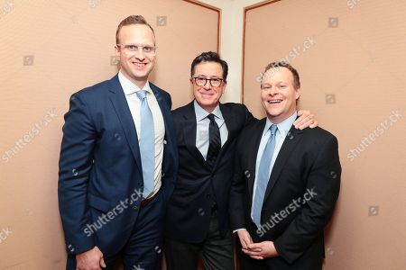 """R.J. Fried, showrunner/writer/executive producer, Stephen Colbert, executive producer, and Chris Licht, executive producer, at the """"Our Cartoon President"""" Panel at Showtime TCA Winter Press Tour 2018"""