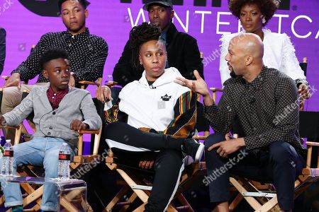 "Jacob Latimore, Alex R. Hibbert, Ntare Guma Mbaho Mwine, Lena Waithe, creator/executive producer/writer, Yolonda Ross, and Common, executive producer, speak at the ""The Chi"" Panel at Showtime TCA Winter Press Tour 2018"