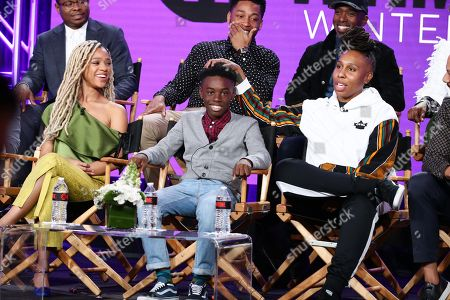 "Jason Mitchell, Tiffany Boone, Jacob Latimore, Alex R. Hibbert, Ntare Guma Mbaho Mwine and Lena Waithe, creator/executive producer/writer, speak at the ""The Chi"" Panel at Showtime TCA Winter Press Tour 2018"