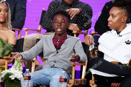 "Stock Image of Alex R. Hibbert and Lena Waithe, creator/executive producer/writer, speak at the ""The Chi"" Panel at Showtime TCA Winter Press Tour 2018"