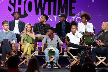 "Stock Picture of Armando Riesco, Jason Mitchell, Tiffany Boone, Jacob Latimore, Alex R. Hibbert, Ntare Guma Mbaho Mwine, Lena Waithe, creator/executive producer/writer, Yolonda Ross, and Common, executive producer, speak at the ""The Chi"" Panel at Showtime TCA Winter Press Tour 2018"