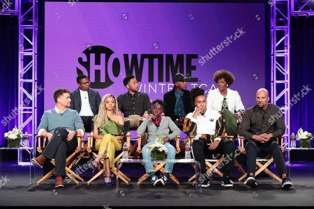 "Armando Riesco, Jason Mitchell, Tiffany Boone, Jacob Latimore, Alex R. Hibbert, Ntare Guma Mbaho Mwine, Lena Waithe, creator/executive producer/writer, Yolonda Ross, and Common, executive producer, speak at the ""The Chi"" Panel at Showtime TCA Winter Press Tour 2018"