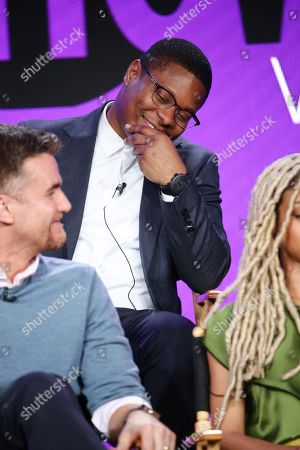"Armando Riesco and Jason Mitchell speak at the ""The Chi"" Panel at Showtime TCA Winter Press Tour 2018"