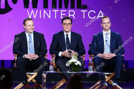 """Chris Licht, executive producer, Stephen Colbert, executive producer, and R.J. Fried, showrunner/writer/executive producer, speak at the """"Our Cartoon President"""" Panel at Showtime TCA Winter Press Tour 2018"""