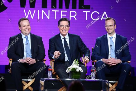 "Chris Licht, executive producer, Stephen Colbert, executive producer, and R.J. Fried, showrunner/writer/executive producer, speak at the ""Our Cartoon President"" Panel at Showtime TCA Winter Press Tour 2018"
